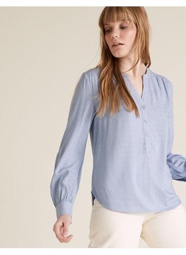 Marks & Spencer Uzun Kollu V Yaka Bluz Mavi